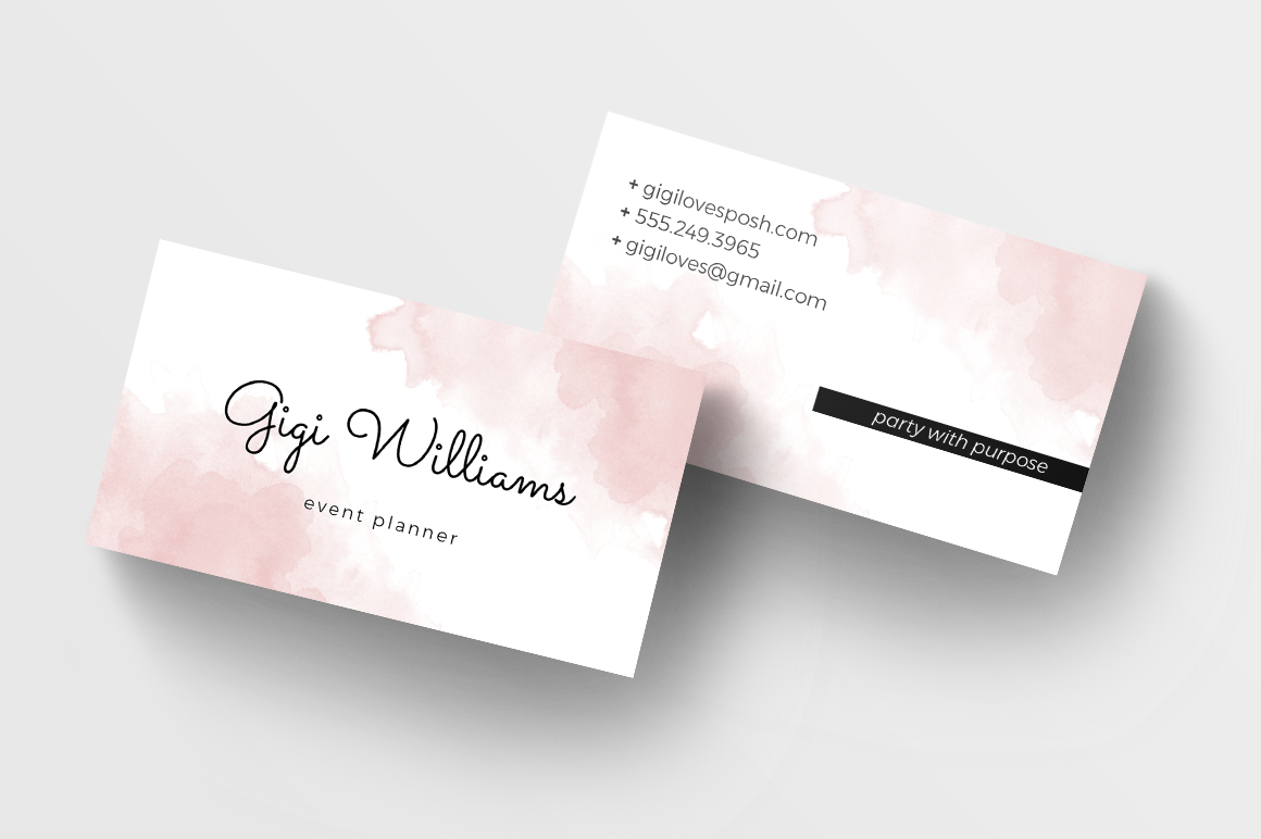 Watercolor Wash Business Card Template Charming Ink