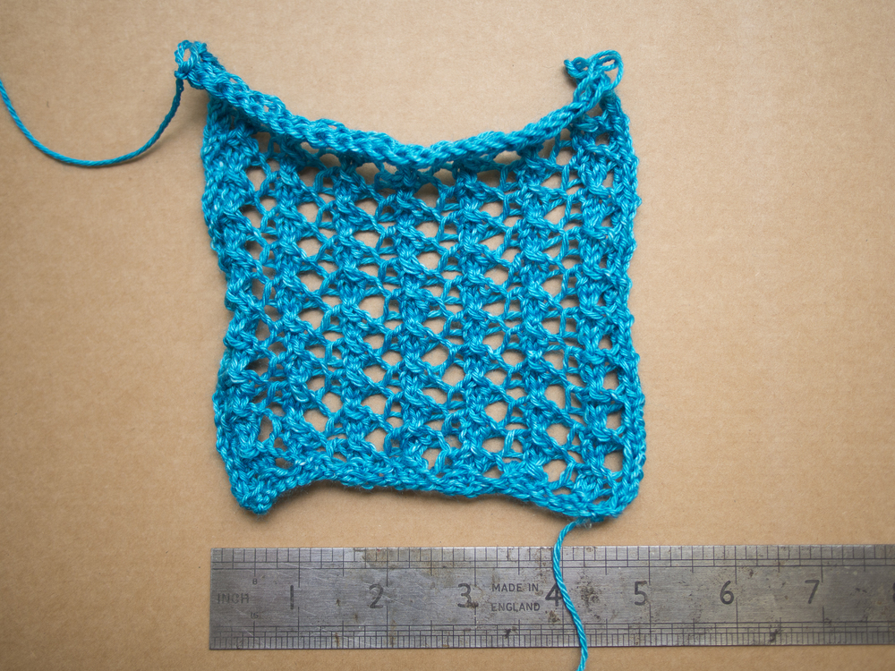 messy swatch before blocking