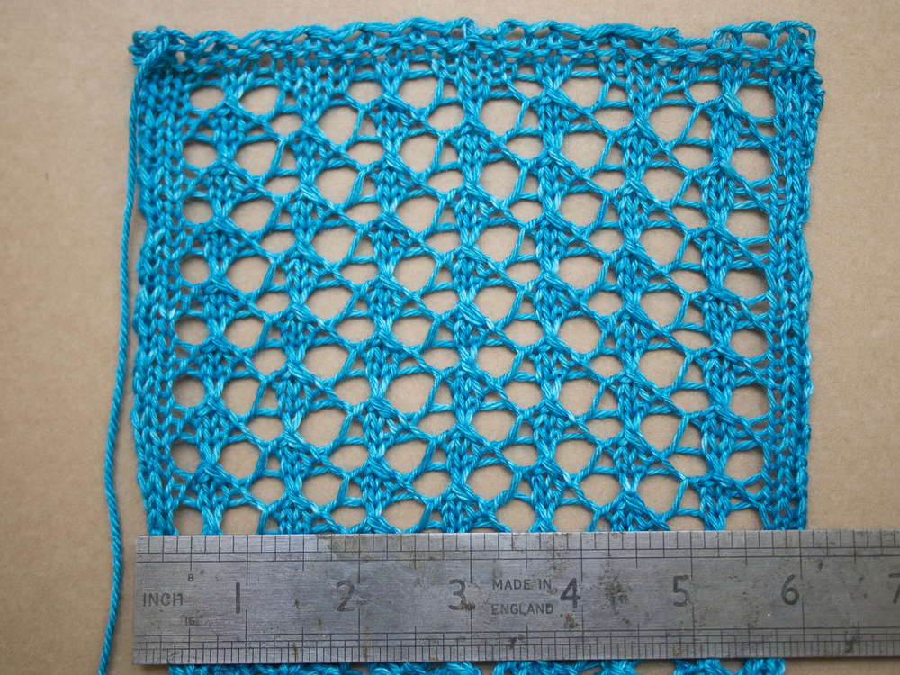 "After being blocked you can see the swatch has sprung back to about 6"" across"