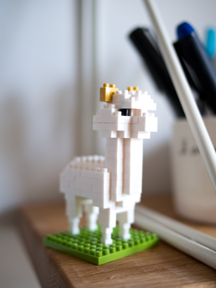 A tiny alpaca made from mini knock-off lego bricks - thanks for the gift Malia, he makes me smile.