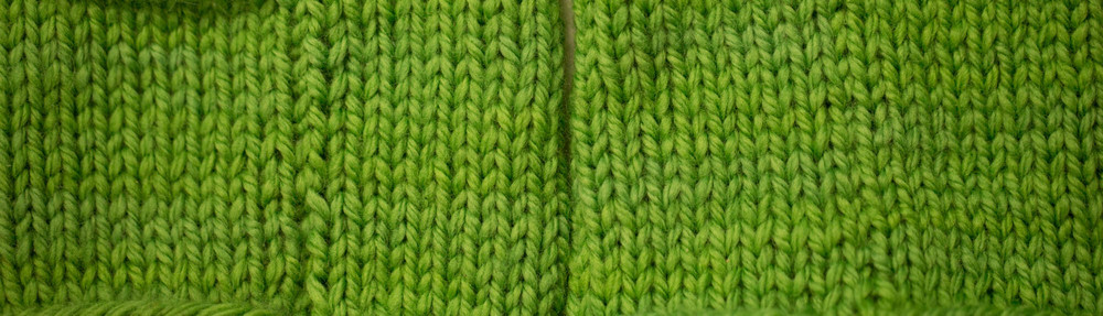 On the left - swatches with slipped stitch selvedges joined with mattress stitch. On the right - swatches with no selvedge treatment joined with mattress stitch. Big difference!