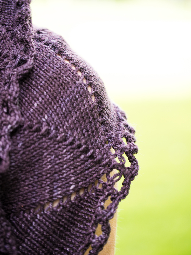 Double yarn overs are knit and purled into a total of four times to create an edging similar to crocheted loops on Damson.