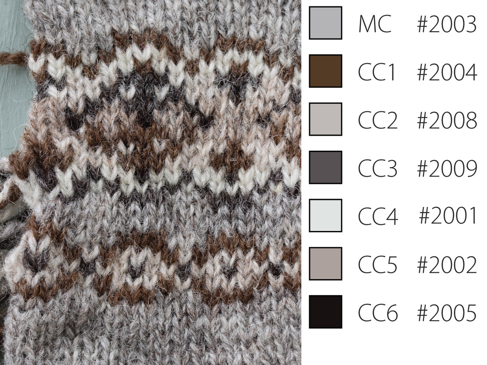 The order of colours on the bottom half of the larger pattern is correct but I like both so didn't fix the error. These are from the Supreme line and show how effective the natural sheep colours can be.