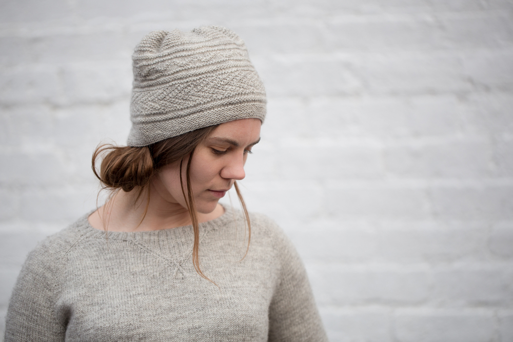 Newhaven is a gansey inspired hat in three sizes with simple knit and purl patterning, a perfect design if you have one skein of Blend no.1.