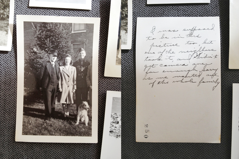 """The back of the photo says: """"I was supposed to be in the picture too, but one of the neighbors took it, and didn't get camera over far enough. Sorry as we wanted one of the whole family"""""""