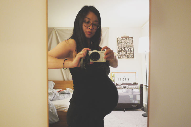 Here I am, at large, two days before the end of my pregnancy.