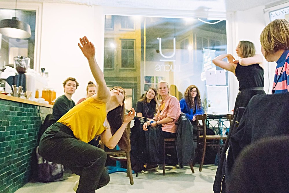 3 IS A CROWD  is a site-specific dance performance initiated by  Sanne Clifford . It was first performed in March 2017 at the CaféTheaterFestival in Utrecht and further performed 2017-2018 at the Oostbloktheater in Amsterdam, the Vuurol Festival, Fringe (NL), and Salone Bruneck (IT), amongst others.  Concept & choreography by Sanne Clifford / Dance & co-creation: Hayley Adams, Sanne Clifford & Anastasia Kostner / Music: Amir Swaab / Dramaturgy & coaching: Jordi Ribot Thunnissen. For a review click  here  for Theaterkrant (NL),  here  for Usc di Ladies (IT) and it's translation  here .   Photo credit: Sjoerd Derine