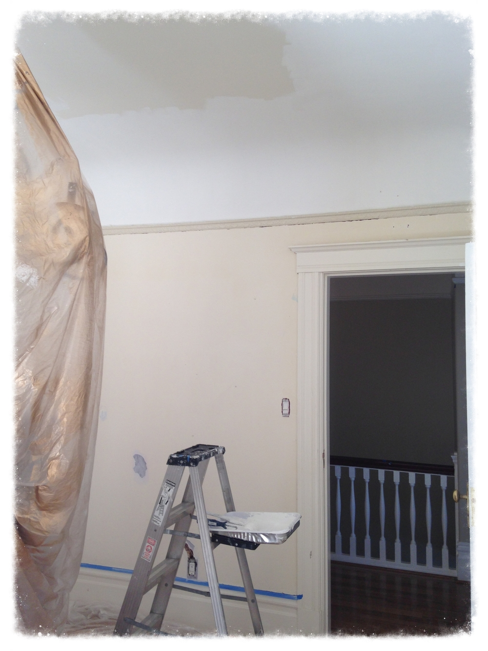 Start of the ceiling painting process
