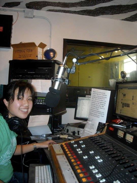 Broadcasting The Big Dig in it's first semester (Spring 2010) in the old KSCR station after training with DJ Kat Bouza on her show, Chocolate Covered Snack Cake.