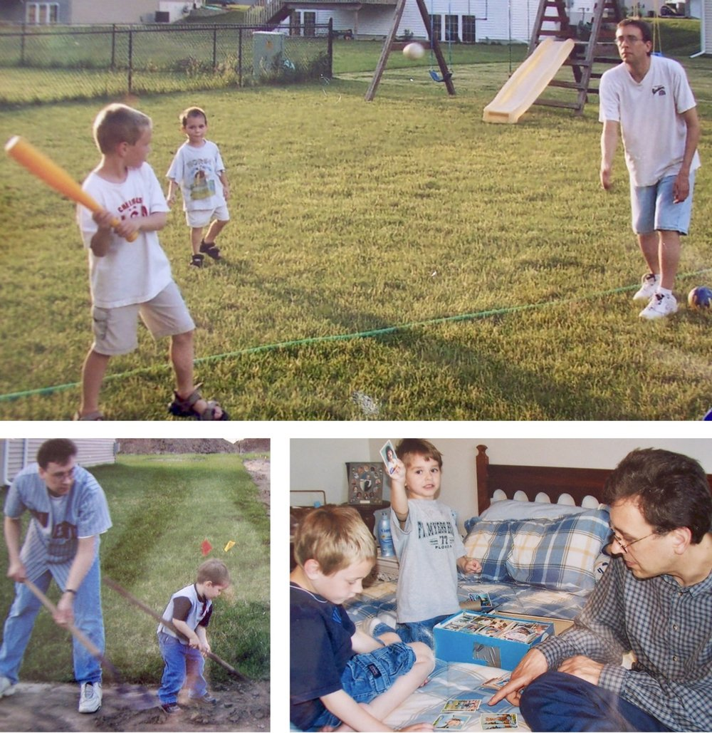 My brother Andy playing baseball with his two young sons, working in the yard wearing his Johan Santana jersey and showing them the baseball cards he collected from the time Andy and I were kids their age.