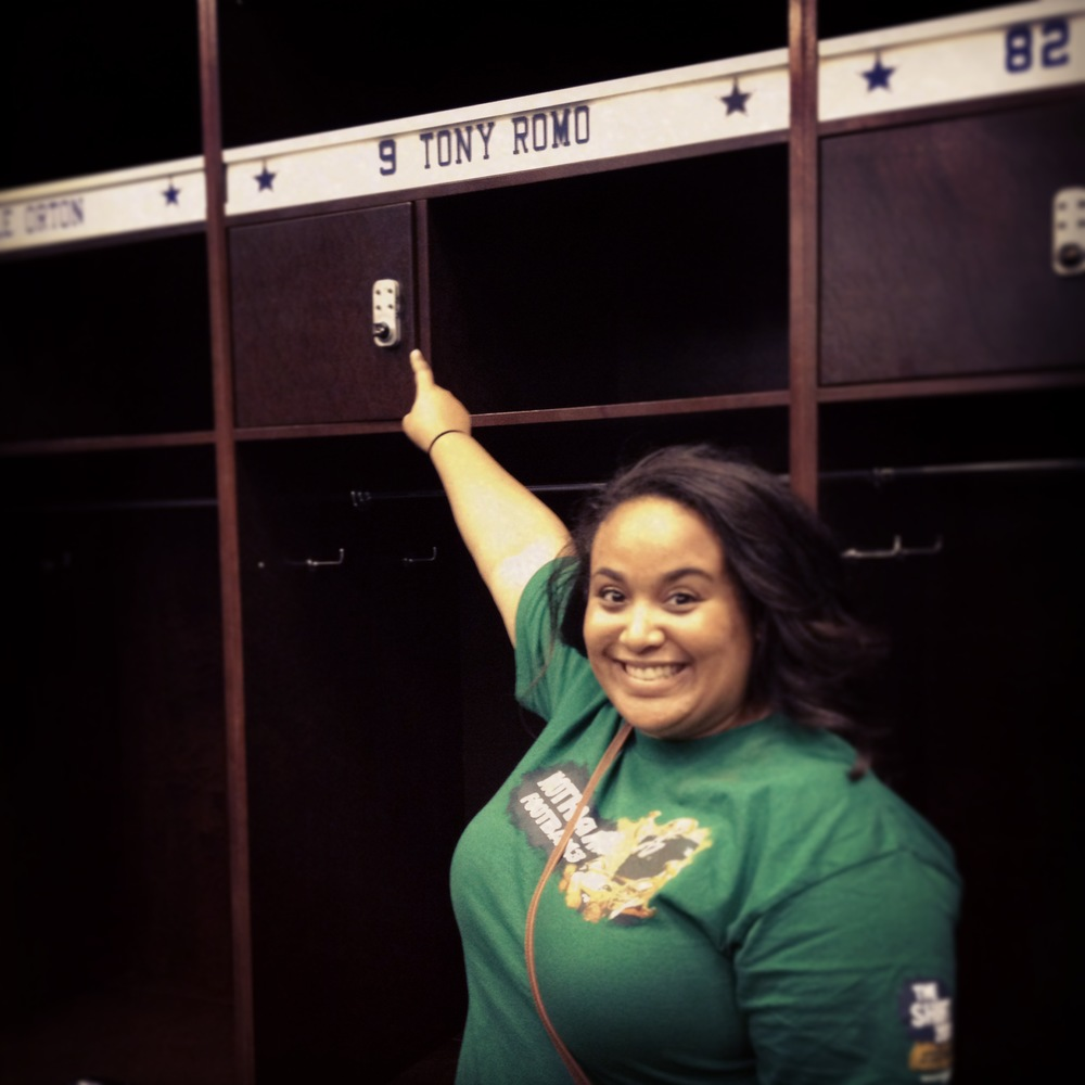 Got to go into the Cowboys' locker room and swoon at Tony Romo's locker :D