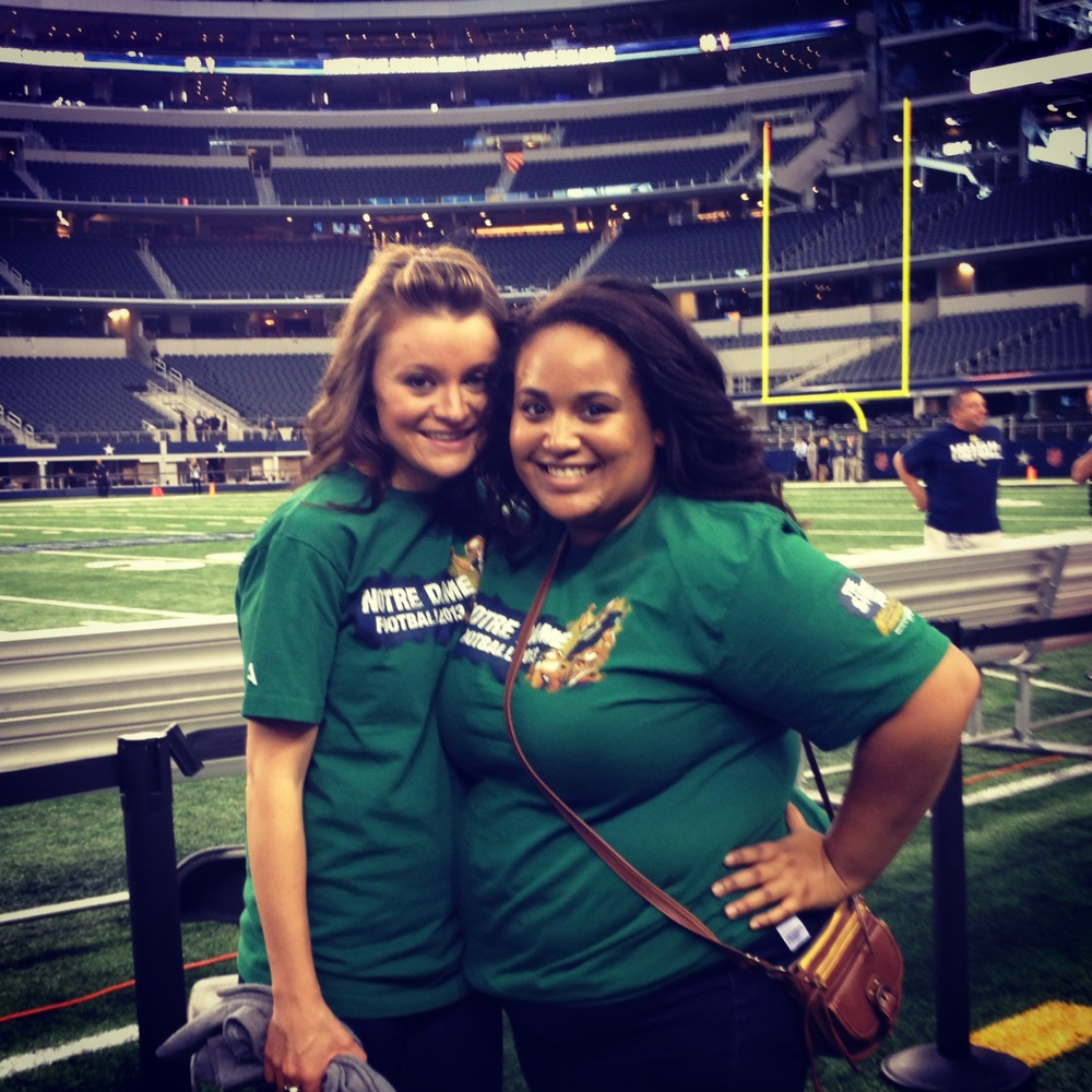 My cousin Lauren and I on the Cowboys' sideline. The turf was aaaaamazing!