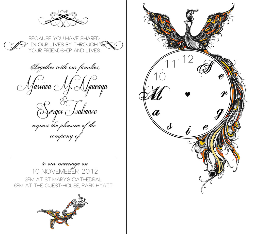 Alternate Wedding Invite Design Pen and Photoshop