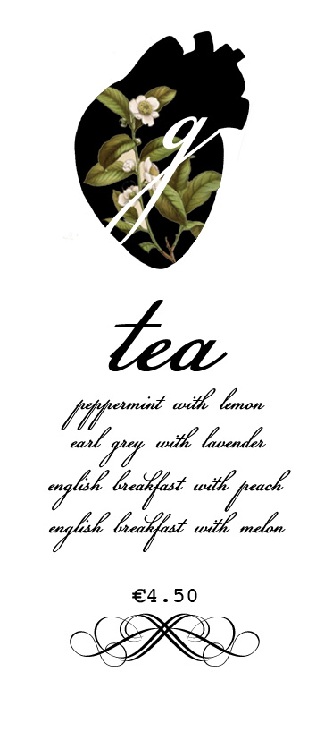 "Tea menu for the cafe ""Greys"""