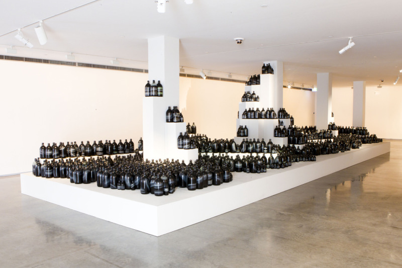 First Glance at the piece which appears as a bunch of bottles    (Photo Credit:http://bos18.com/artist?id=83)