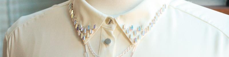 Crystal Decorated Shirt Collar