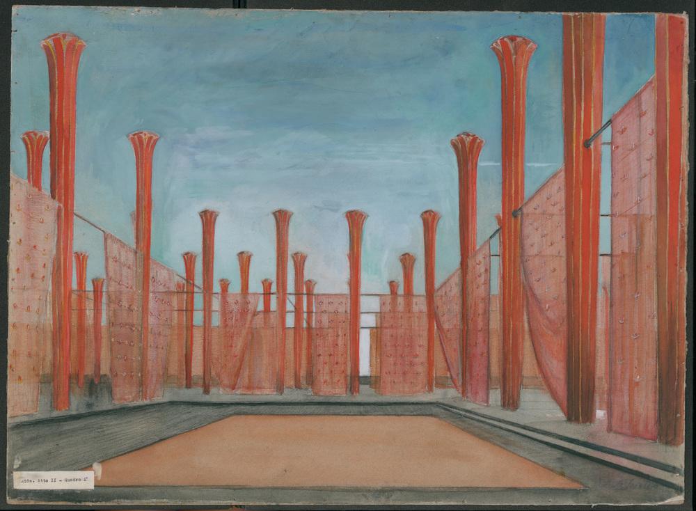Roberto Scielzo, bozzetto di scena di Aida , Teatro di San carlo, 1952 (MEMUS, Museo e Archivio Storico del Teatro di San Carlo)