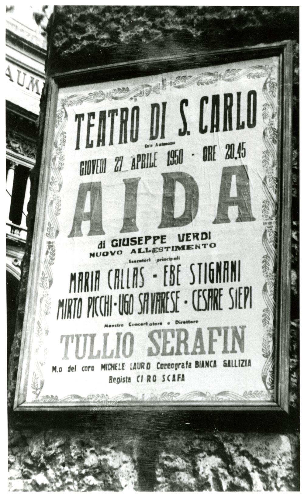 Manifesto della prima di Aida , Teatro di San Carlo, 1950 (MEMUS, Museo e Archivio Storico del Teatro di San Carlo)