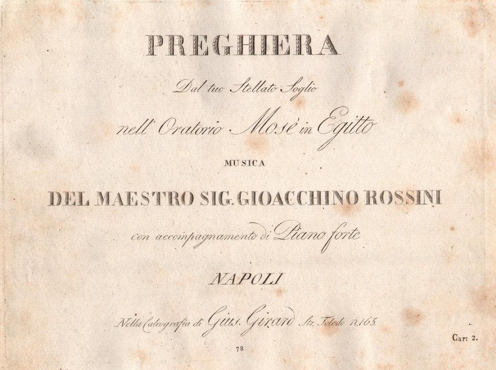 """/ Mosè in Egitto    Preghiera """"Dal tuo stellato soglio"""".  Napoli, Calcografia Giuseppe Girard, 1819."""