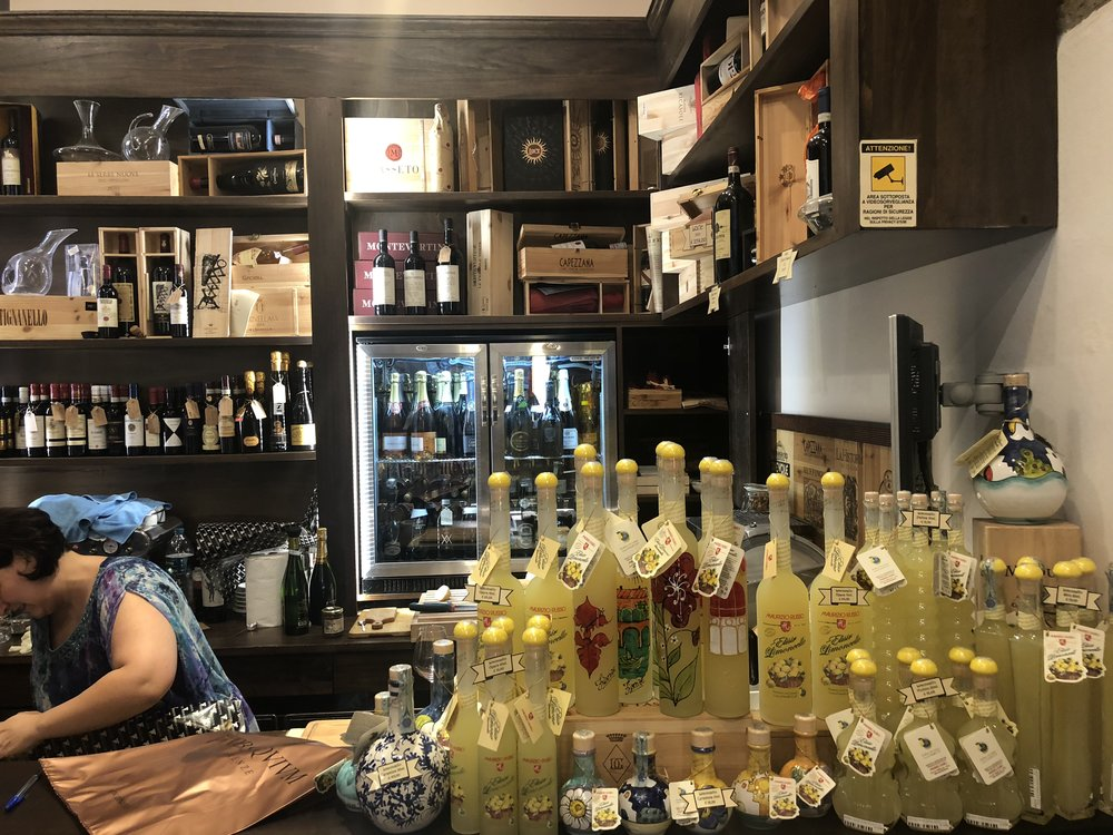 We did not have limoncello but a nice selection.   A food tour guide must be able to manage their food and alcohol consumption. Our guide's Mom is a doctor and has lectured her extensively on her diet. Today's guide is a teetotaling vegetarian who has only done a food tour once!