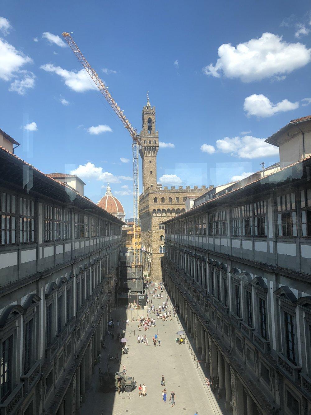 View from Uffizi Gallery towards Piazza della Signoria.