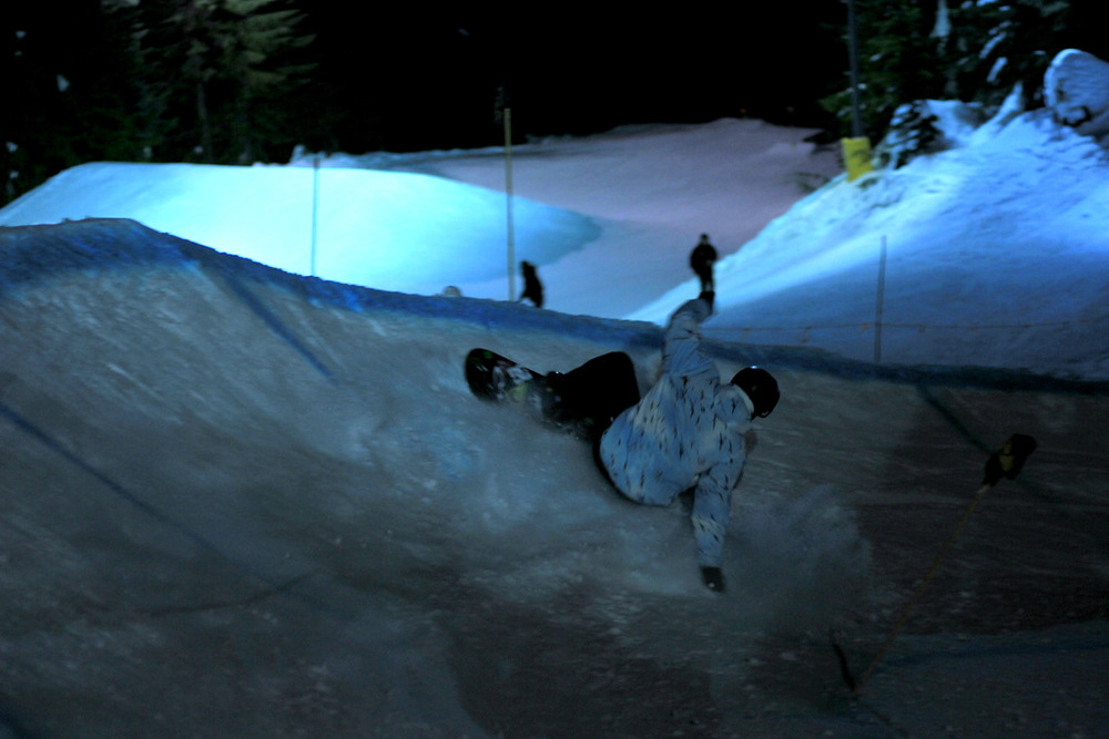 Quiksilver's very own Chris Rasam getting low and embracing the course all night long.