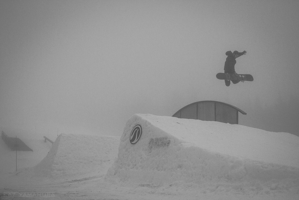 Daniel Gardiner with a fat method off the rainbow rail. In just a half hour the fog would disappear...