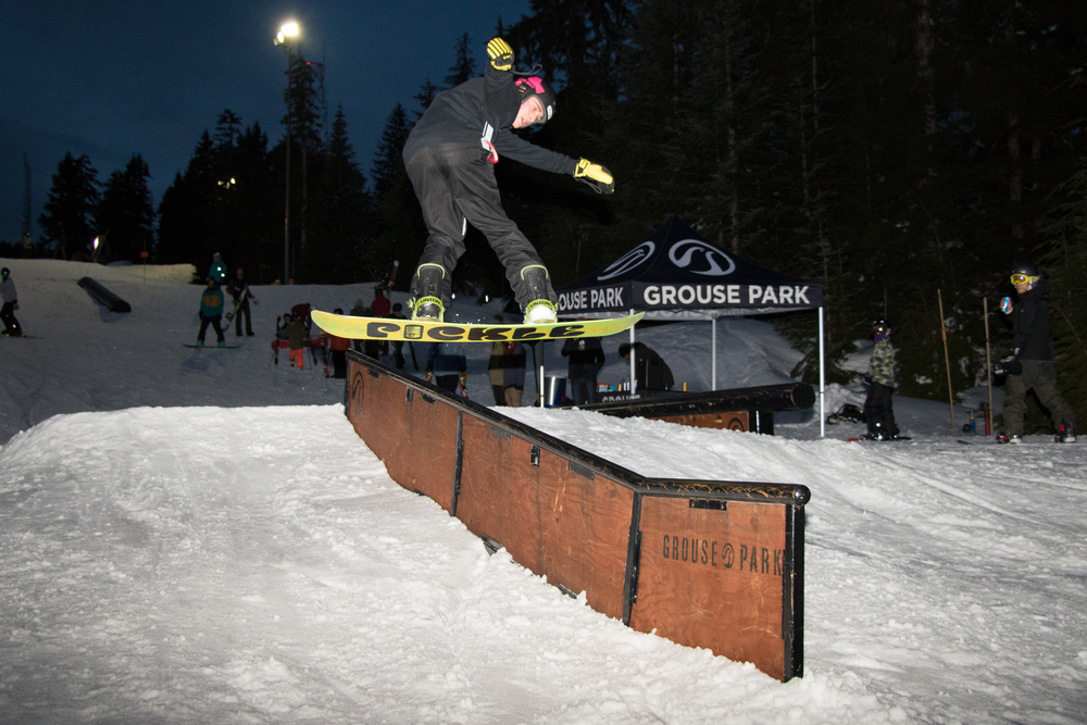 Standout snowboarder of the night with a gap to front board on the flat.