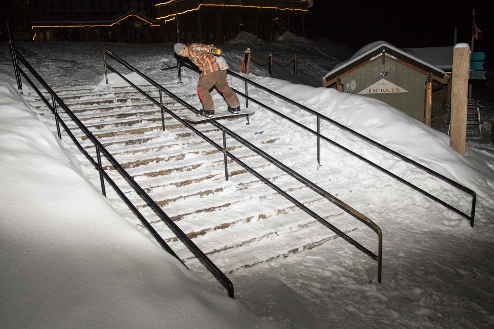 Rob with a picture perfect front board well past midnight while the resort is closed.