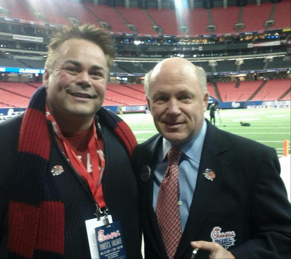 Campus Pride Executive Director Shane Windmeyer and Chick-fil-A President Dan Cathy at the Chick-fil-A Bowl (via @ShaneWindmyer)