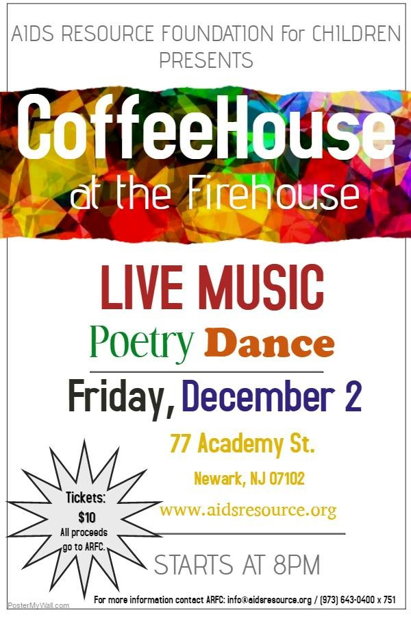 Mark your calendars! CoffeeHouseis coming to the AIDS Resource Foundation for Children on Friday, December 2, 2016. We're coming together to raise money in support of the Firehouse program. SEE YOU THERE.