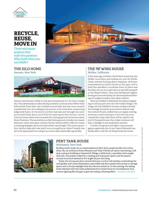 Wing House Featured In Hemispheres October 2013 David Hertz