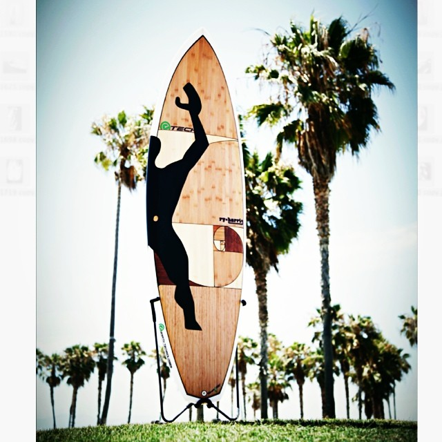 A+D donation, completed surfboard! Thank you e-tech & sustainable surf. #celebrateaplusd #beautifulboard #sustainablesurf #venice #recycledbamboo #ecofriendlyboard #lecorbusier #modularman #goldenmeans #spiralhelix
