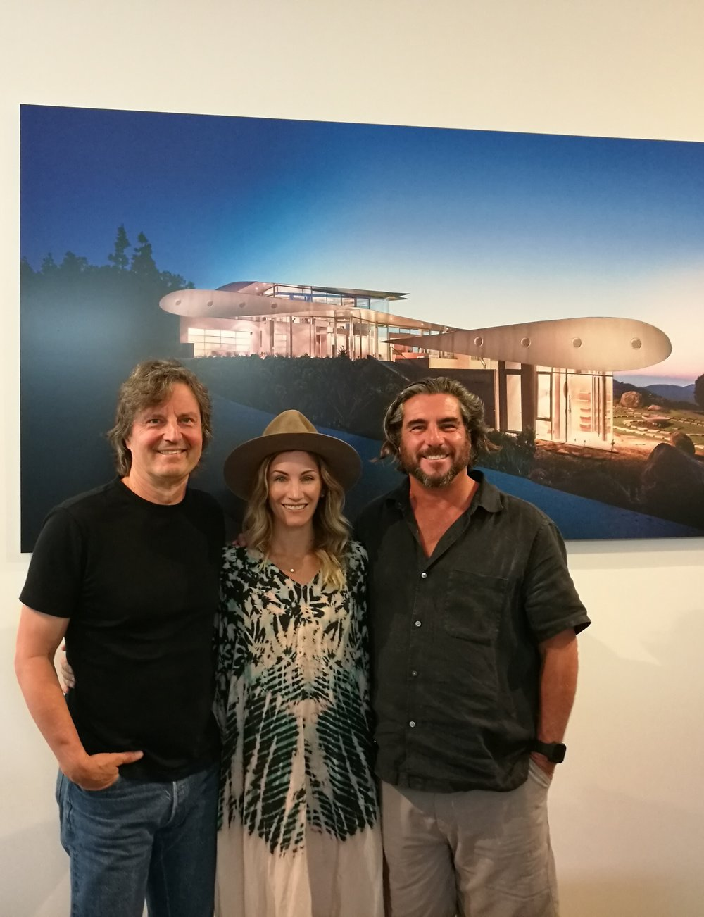 Tom Kundig, of Olson Kundig, Venice local, Kelly Furano, and David Hertz at SEA Studio