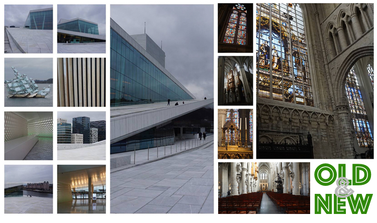 On the left, the Opera House in Oslo, Norway. And on the right, La Cathédrale de Saint-Michel in Brussels