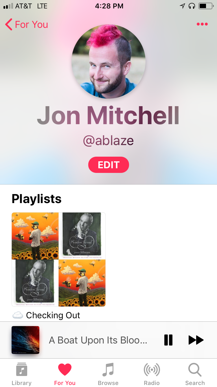 Here's what my Apple Music profile looks like