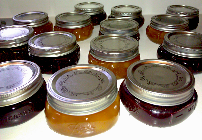 Homemade Peach Orange Marmalade, Drunken Fig Jam and Blueberry Jam
