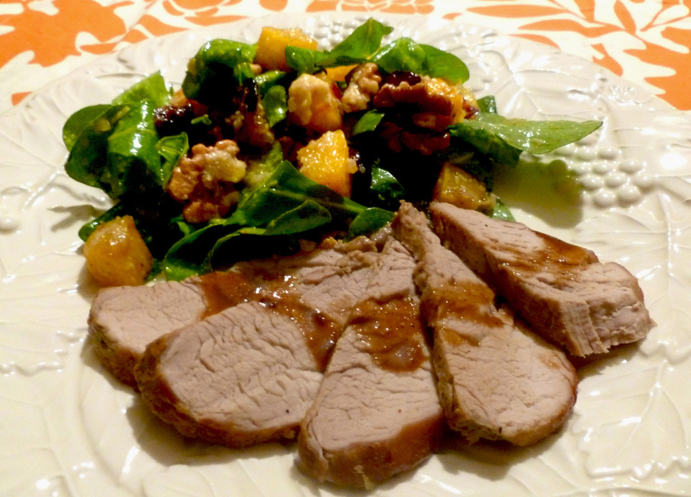 Bourbon-Mustard Glazed Pork Tenderloin with Roasted Butternut Squash Salad