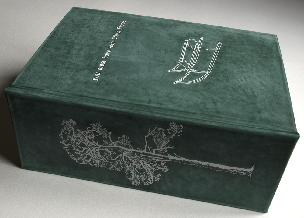 'you must have seen Ethan Frome' handprinted leather bound and foil blocked book -2013   Exhibited as part of Art Language Location at Cambridge Museum of Technology-print room 2013