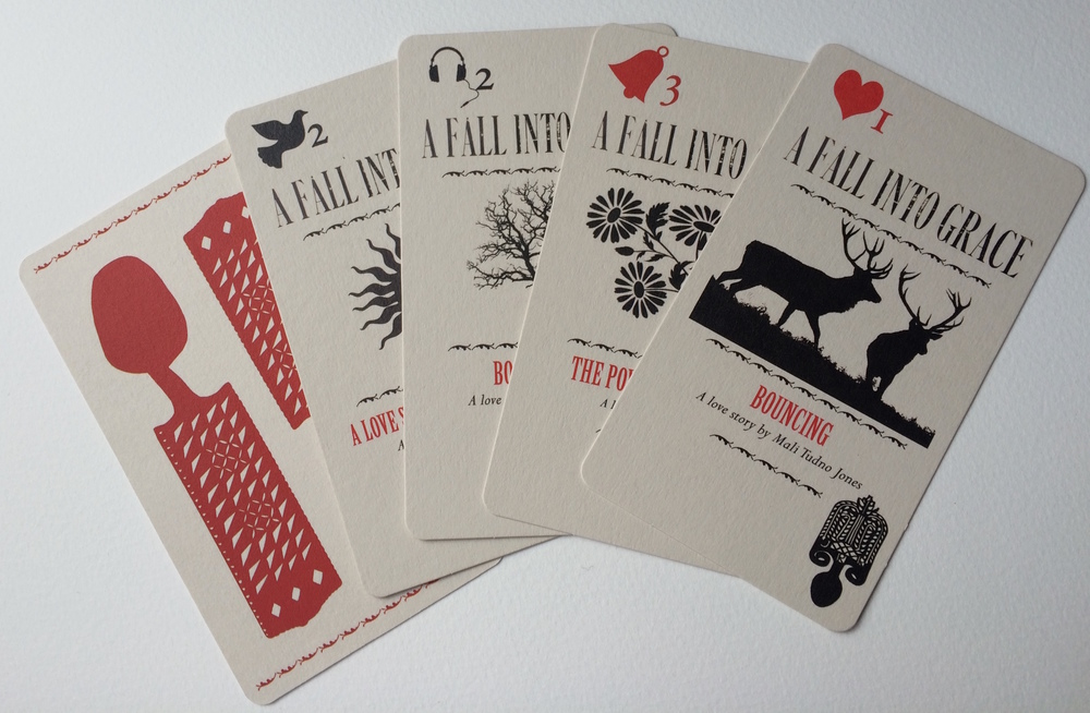 Set of 21 cards designed for use by a matchmaker during an afternoon of romantic storytelling across Aberdare, production devised by John Norton in collaboration with Jackie Chettur, September 2015. Cards designed by Jackie Chettur