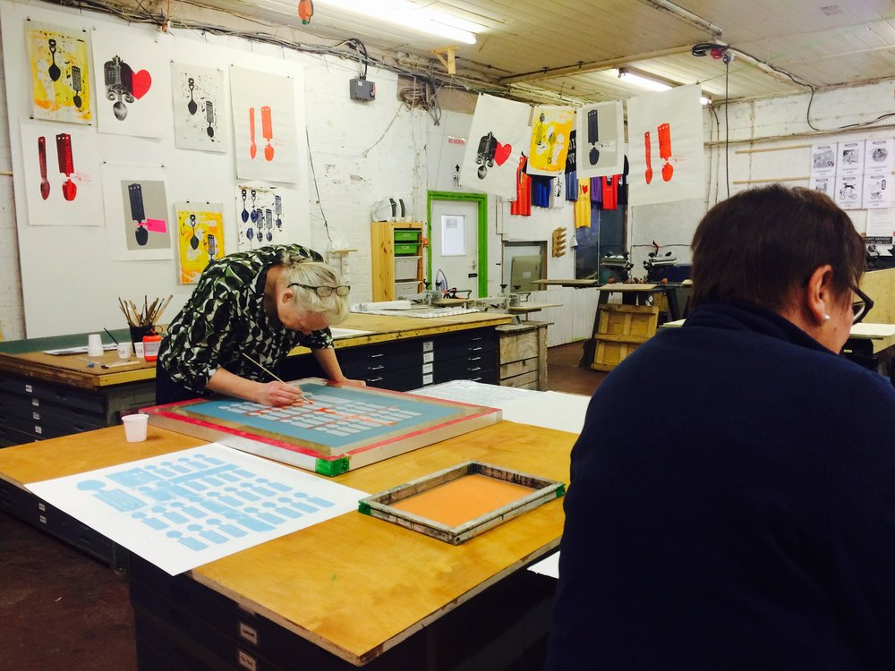 Screen-printing workshop Printhaus Cardiff.   participants illustrate their love storie s