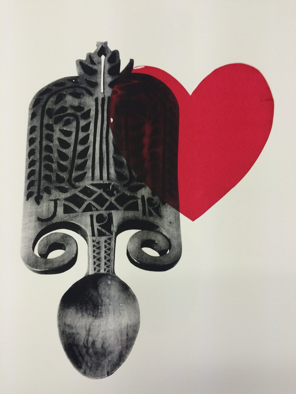 A0 Screenprint of love spoon, traditional Welsh love token