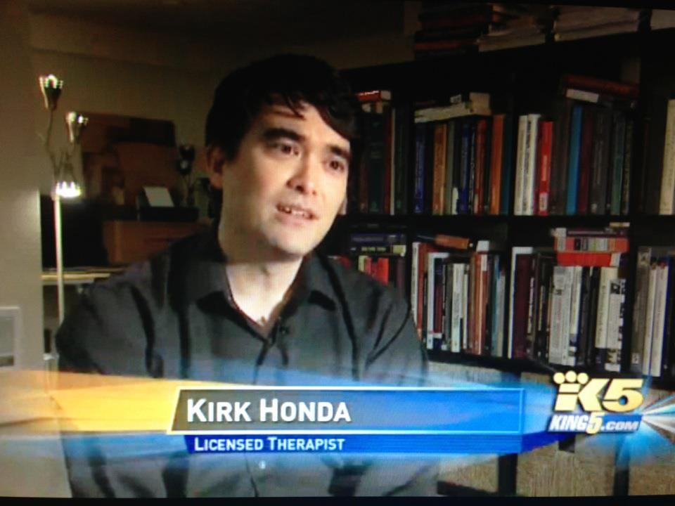 Kirk being interviewed on TV in South Lake Union, Seattle (2012)