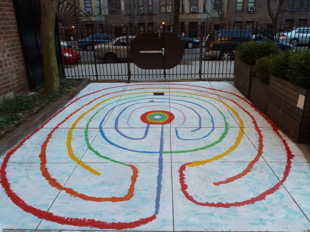 Labyrinth commissioned by the Lilian Webber School of the Arts, PS 84. Enter through the Sol Bloom Park on W. 92nd St. near Columbus Ave. New York City.   Artist Statement