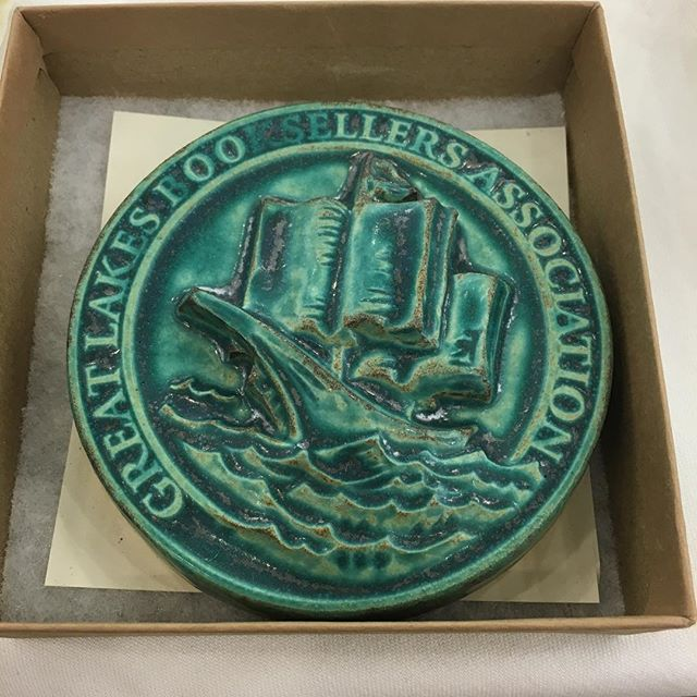 Completed 6 years on the board of GLIBA this morning. My major award: a beautiful tile from Pewabic Pottery! #hff15