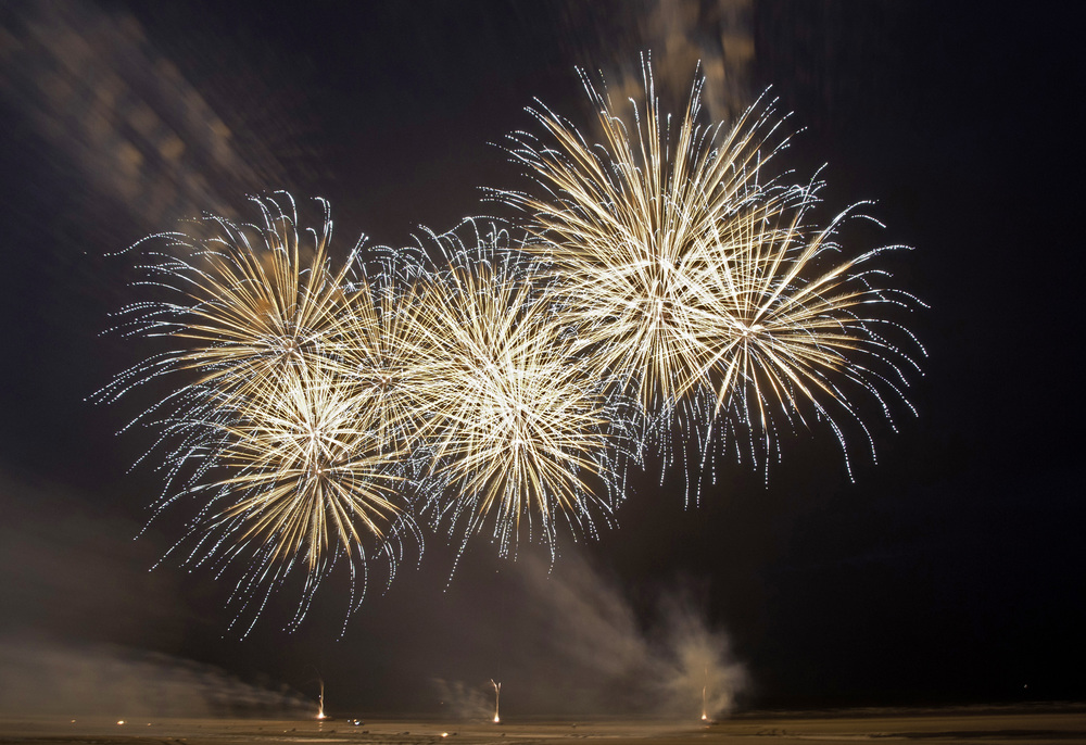Fireworks over Blackpool Beach