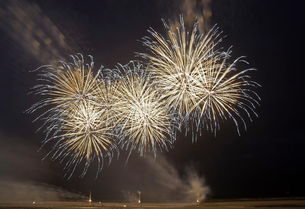 Fireworks over Blackpool Beach