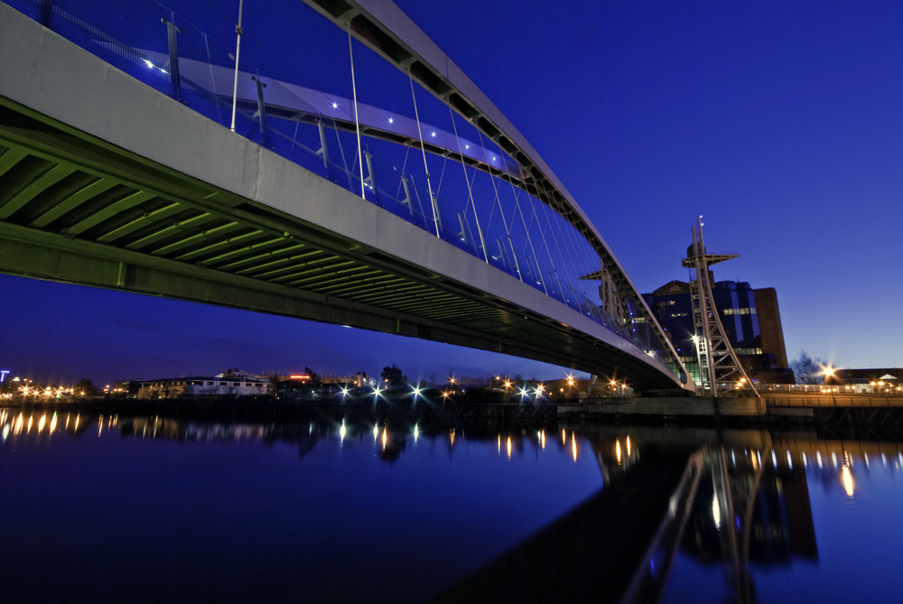 Millenium Bridge at Night, Salford Quays