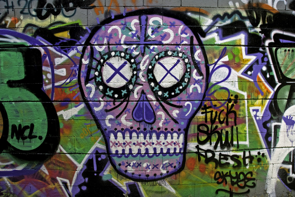 Skull Fresh Graffiti in Barcelona