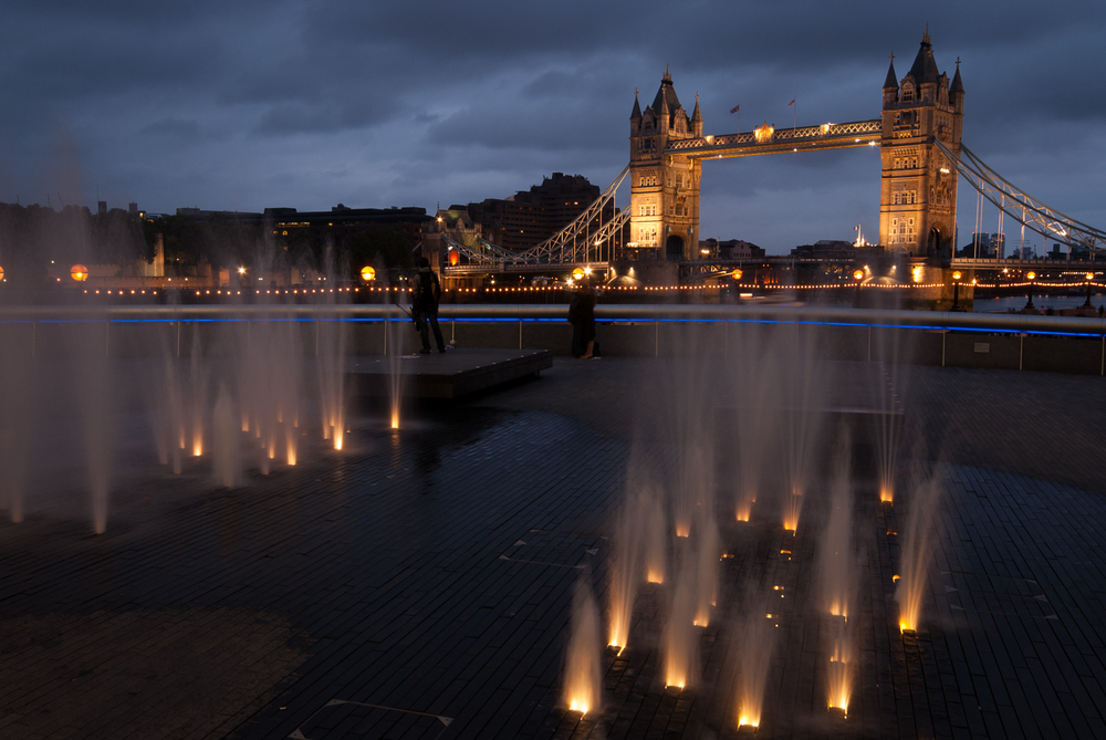 Fountains & Tower Bridge at Night
